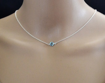 Birthstone Choker Sterling Birthstone Necklace Sterling Silver Choker Necklace Swarovski Gemstone Simple Necklace
