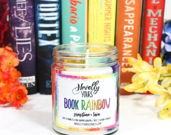 Book Rainbow | 9oz jar | rainbow soy candle, bookstagram, reader's candle | Book Candle | Bookish Gift