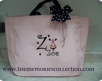 Gymnastics upside down Personalized Tote Bag Pink all colors Ribbon Top Bow Preppy Monogram