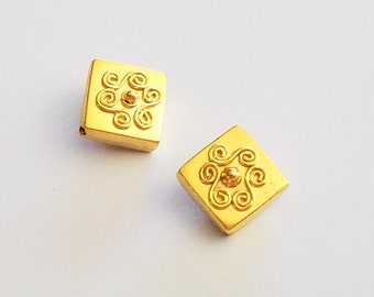 Bali Gold Vermeil Triangle Square Sterling Beads 11mm sides, 14.8mm Corner to Corner, 2 pieces