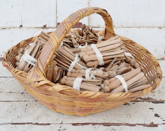 ONE Vintage Wooden Clothes Pin Bundle of 10-12 each Craft Supplies Basket Filler Primitive Laundry Decor Repurpose Clothes Pegs 1950's