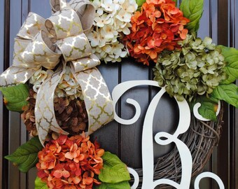 Hydrangea wreath~Fall wreath~front door wreath~wreath with monogram letter~monogram wreath~door wreath~monogram wreath