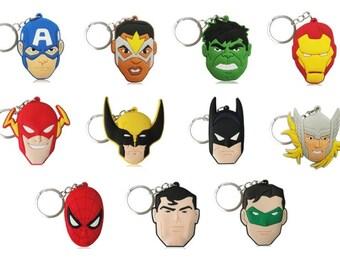 11 - Superhero Party Favors Key Chains Spiderman Batman Captain America and More