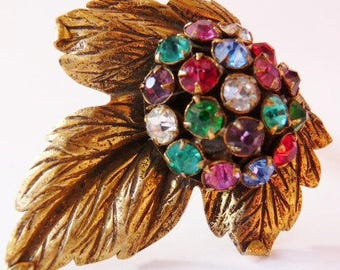 Vintage multi color rhinestone gold tone dress clip | 1930s | unsigned Hollywood Regency end of the day | vintage high fashion