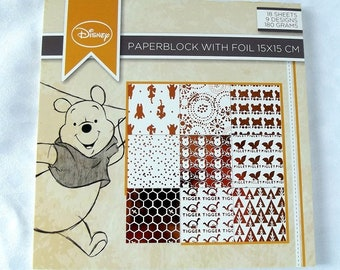 Disney paper, paper 15 x 15, white and copper leaf foil, scrapbooking, card making, crafting - Winnie the Pooh