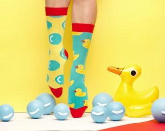 Furphy Little Duck Bubble Game Mismatched Socks in Yellow Blue for Men and Women, Kawaii Socks, Kawaii Gift, Kawaii, Kawaii Accessories