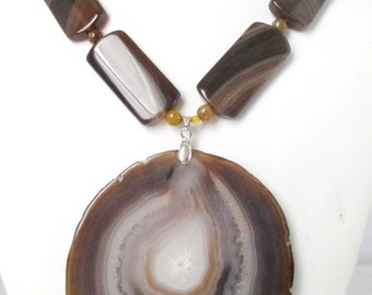 Statment Necklace. Huge Brown Agate Pendant Necklace. Free Shipping