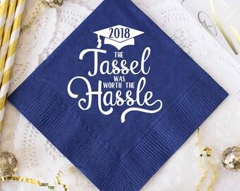 Graduation Party Napkins, Class of 2018 Decorations, High School Grad, College Graduate, Personalized Napkins, Beverage Napkins, Grad Decor