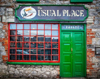 Irish Bar, Ireland Photography, Emerald Isle Green, Travel Photography, Irish pubs, Irish Photography, Large Wall Art, Bar Decor, pub photo