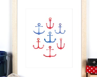 "Nautical Nursery Art Print 8""x10"", Anchor print, Red White and Blue theme, Perfect for boys room, kids wall art with watercolour anchors"