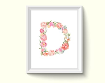 Letter D Alphabet Watercolour Painting Drawing Art Print N63