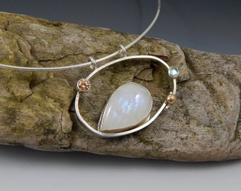 Sale Passages - Time Heals all Wounds - Sterling Silver and Gold Moonstone Necklace