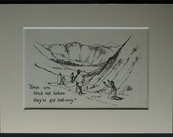 1904 Antique Print of Travellers on a Long Journey Antique Beautiful travelling art, Edwardian hiking decor - Available Framed - Travel Art