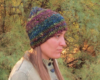 Handspun, Handknit Wool Hat. Raindow/Black Soft Cap. Dark Rainbow. OOAK