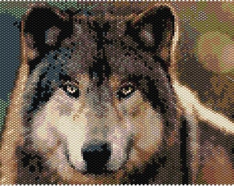 Wolf 5x7 Beaded Peyote Picture