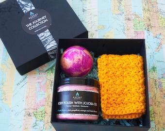 soak and scrub gift set, orange and pink grapefruit pamper set, spa gift set,  bath and body gift box,