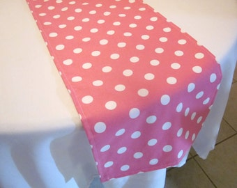 Pink Polka Dot Table Runner - Birthday party, Wedding, Baby Shower, Bridal Shower, Minnie Mouse Party, Easter