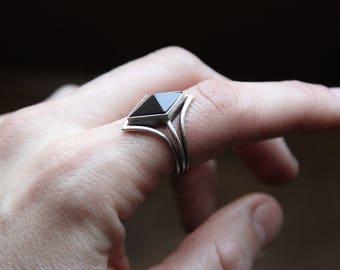 Black Onyx Pyramid Ring, Size 7