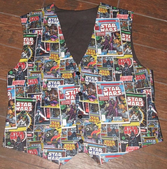 SW Comic Book print men's sporty vests with buttons for closure in 8 sizes