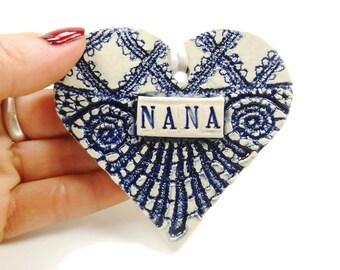 Nana Heart, Mother's Day Gift, Grandmother Ornament, Valentine Heart, Gift for Nana, Pregnancy Reveal, New Grandmother, Nana Birthday