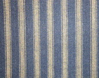Navy Homespun Ticking Fabric |  Stripe Fabric | Primitive Stripe Fabric | Cotton Quilt Fabric | Home Decor Ticking Fabric