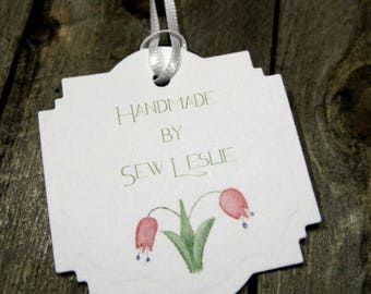 Handmade Tags -  Set of 20 - Personalized - Store tags - Tulips - Handmade by - Hang tags - Price Tags - Branding - Brand tags