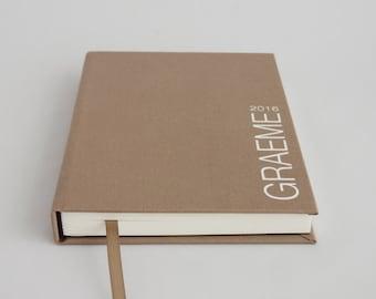 Personalised sketchbook - artist sketch book. Colour options: orange, purple, teal green, beige, red, blue, yellow, gray or brown fabric