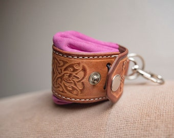 Pink Keychain. Coin Purse. Leather Keychain. Brown Leather Key fob. Leather Key Chain. Purse With Key Holders. Anniversary Gift.