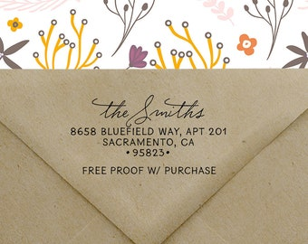 Family Self Inking Return Address Stamp, 4 line Address Stamp, Wedding Stamp, Personalized Stamp, Custom Address Stamp, Wood Handle 20579
