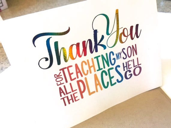Teacher thank you card teacher appreciation note card like this item altavistaventures Images