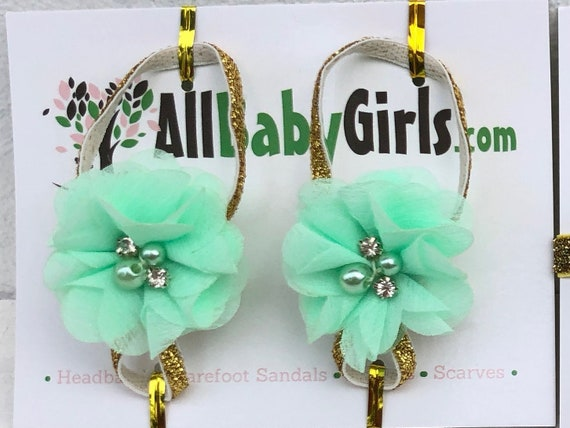 Gold Baby Sandals, Barefoot Sandals Baby, Mint Flower Sandals, Barefoot Baby Sandals, Baby Sandals, Baby Barefoot Sandals, Newborn Sandals