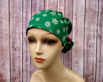 Surgical Scrub Caps - Ponytail Scrub Hat - Scrub Caps - Green Snowflake - Christmas Scrub Hat