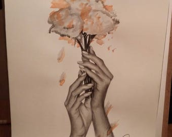 Drawing made in pencil and watercolor, original illustration, drawing mixture of realism and abstract