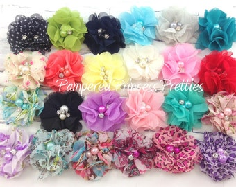 """Set of 6-Phoebe Pearl Flower-Approximately 2""""-You Choose Print (Please Check Stock List Below)"""