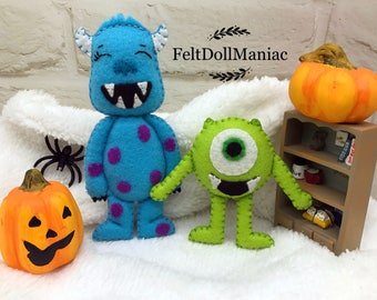 Monsters. Felt Doll. PDF Pattern and Tutorial. Adapted from Monsters Inc. Halloween Pattern. Halloween Decoration.
