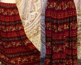 VTG 70s 80s Gauze Boho Hippie Floral Gypsy Festival Maxi Skirt L