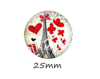 1 cabochon 25mm glass EIFFEL Tower poppy