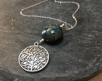 grove... chrysocolla silver tree charm necklace / teal blue green chrysocolla coin and sterling silver with round tree charm necklace