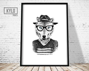 Wolf Print, Funny Animal Art, Hipster Wolf Poster, Wolf Illustration, Hand Drawn, Home Decor, Nursery Wall Art, Wolf Drawing, Printable Art