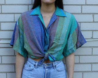 Vintage linen blend rainbow collared button up blouse