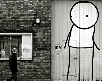 Stik Street Art Print - London Photography - Black and White - Large Poster