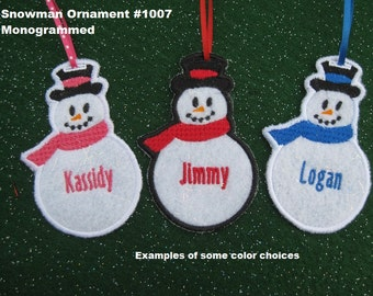 Personalized Snowman Christmas Ornament or Gift Tag