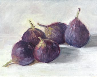 "5 Figs, 6""x8"" Oil painting on panel, unframed"
