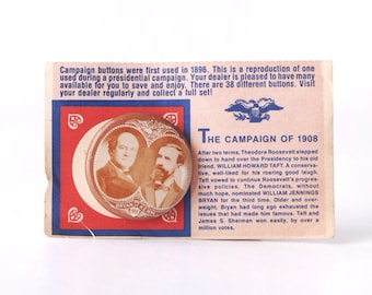 William Jennings Bryan campaign pinback button, vintage 1972 repro of 1908 presidential election badge, US presidents, gas station premium