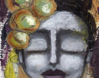 Prints for Women// Whimsical Art Print// Rustic Art Print//Decorative Art Print// Wall Art// Girl with Closed Eyes// Shabby Chic Decor