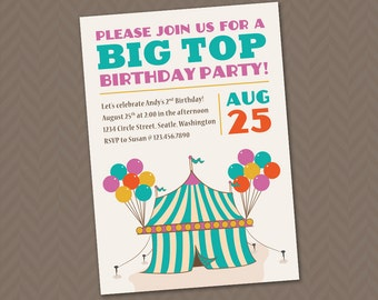 Big Top Birthday Invitation - DIY printable circus theme party invitation