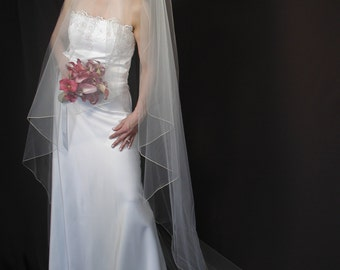 "Angel Cut wedding veil. Water fall/Angel veil 75"" long."