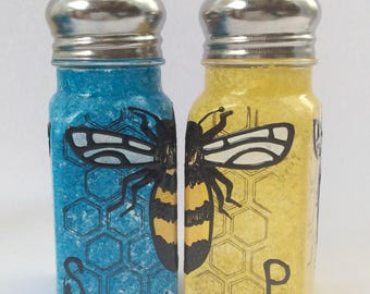 Mix and Match Bee hand painted glass salt and pepper shakers