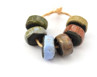 6 Raku Disk Beads, Colorful Glazed Beads, Handmade Ceramic Beads, Clay Beads, Rustic Beads, Artisan Beads, Jewelry Supplies