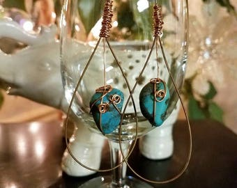 Guitar String Earrings with Turquoise Nuggets